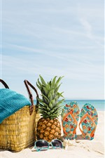 Preview iPhone wallpaper Beach, summer, sea, sunglasses, pineapple, flops, basket