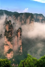 Preview iPhone wallpaper Beautiful nature landscape, Zhangjiajie, China, mountains, fog