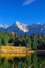 Preview iPhone wallpaper Beautiful nature landscape, mountains, forest, lake, water reflection