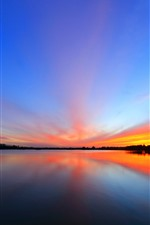 Preview iPhone wallpaper Beautiful sunset, lake, sky, water reflection