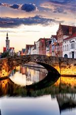미리보기 iPhone 배경 화면 벨기에, 브뤼헤, 도시, 황혼, 강, 다리, 주택