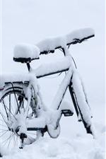 Preview iPhone wallpaper Bike, thick snow, winter
