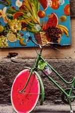Preview iPhone wallpaper Bike, watermelon wheel, creative