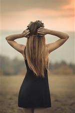 Preview iPhone wallpaper Blonde girl back view, black skirt, dusk, summer