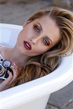 Preview iPhone wallpaper Blonde girl, camera, bathtub