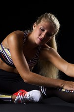 Preview iPhone wallpaper Blonde girl, fitness, sit on ground