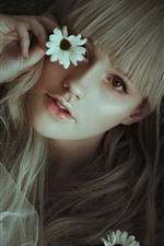 Preview iPhone wallpaper Blonde girl, flowers, hands