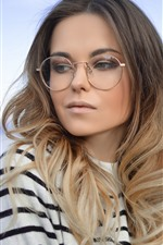 Preview iPhone wallpaper Blonde girl, glasses, lake