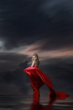 Preview iPhone wallpaper Blonde girl, red skirt, lake, water, clouds, dusk