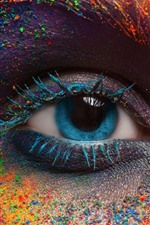 Preview iPhone wallpaper Blue eye, face, colorful powder, festival