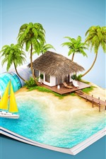 Preview iPhone wallpaper Book, resort, hut, tropical, creative picture