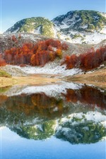 Preview iPhone wallpaper Bosnia, mountain, trees, lake, water reflection