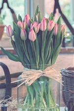 Preview iPhone wallpaper Bouquet, pink tulips, vase, basket