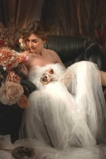 Bride, wedding, chair, flowers