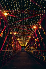 Preview iPhone wallpaper Bridge, night, lights, holiday
