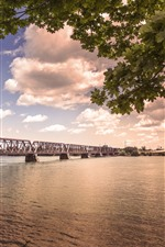 Preview iPhone wallpaper Bridge, river, trees, clouds, dusk