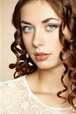 Brown hair girl, curls, makeup