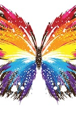 iPhone fondos de pantalla Mariposa, alas de colores, estilo abstracto, fondo blanco.