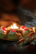 Preview iPhone wallpaper Cakes, tea, candle, flame, night