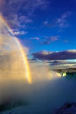 Preview iPhone wallpaper Canada Niagara Falls, fog, snow, winter, rainbow