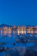 Canada, Vancouver, bay, city, night, sea, buildings, lights