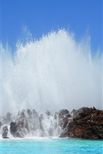 Preview iPhone wallpaper Canary Islands, water splash, sea, Spain