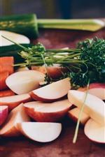 iPhone обои Морковь, яблоки, огурец, еда