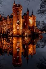 Castle, night, lights, pond