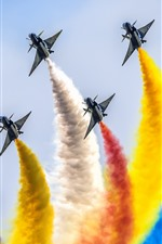 Preview iPhone wallpaper Chengdu J-10 fighters, air show, colorful smoke