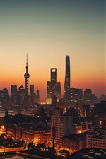 Preview iPhone wallpaper China, Shanghai, skyscrapers, tower, dusk, cityscape