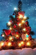 Árvore de natal, decoração, luzes, neve, inverno