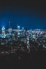 Cidade, à noite, iluminação, arranha-céus, montreal, canadá