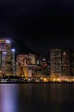 Preview iPhone wallpaper City night, skyscrapers, lights, sea, Hong Kong