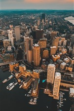 City, top view, skyscrapers, pier, river