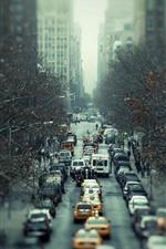 iPhone fondos de pantalla Ciudad, tráfico, coches, carretera, nebuloso.