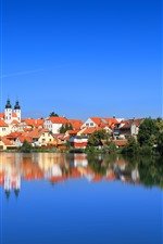 Preview iPhone wallpaper Cityscape, Czech Republic, houses, river, water reflection