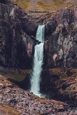 Cliff, rocks, waterfall