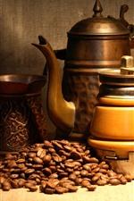Coffee grinder, coffee beans, still life