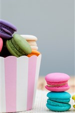Preview iPhone wallpaper Colorful macaroons, cakes, paper bucket