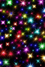 Preview iPhone wallpaper Colorful stars, shine, black background