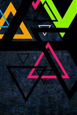 Preview iPhone wallpaper Colorful triangle, darkness