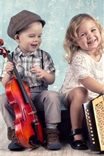 Preview iPhone wallpaper Cute little girl and boy, musical instruments, violin, accordion