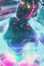 iPhone fondos de pantalla Cyberpunk 2077, niña, neón