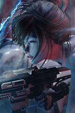 Preview iPhone wallpaper Cyberpunk 2077, girl, weapon