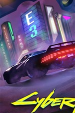 Cyberpunk 2077, supercar, night, city, E3 game