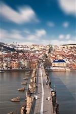 Preview iPhone wallpaper Czech Republic, Prague, Charles Bridge, Vltava river, city, snow, winter