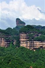 Danxia Mountain, Guangdong, China, floresta, montanhas, nuvens