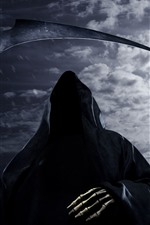 Preview iPhone wallpaper Death, scythe, moon, horror