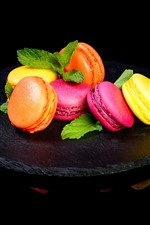 Preview iPhone wallpaper Delicious macaron, colors, black background