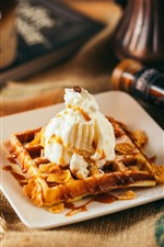 Preview iPhone wallpaper Dessert, waffle, cream, coffee